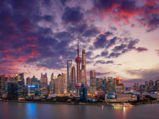 Aerial View Shanghai Skyline and Skyscrapers wallpaper