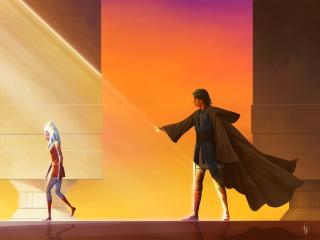 Ahsoka Tano and Anakin Skywalker Art wallpaper