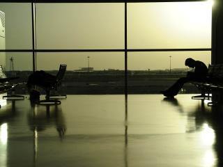 airport, waiting, man wallpaper