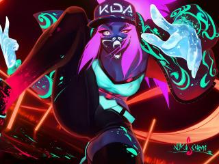 Akali League Of Legends Neon Art wallpaper