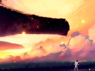 akio bako, anime, sunset wallpaper