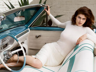 Alexandra Daddario In Car Photoshoot wallpaper