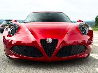 alfa romeo, red, front view wallpaper