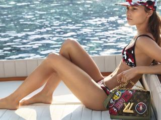 Alicia Vikander In Bikini And Cap For Louis Vuitton Cruise Campaign 2018 wallpaper