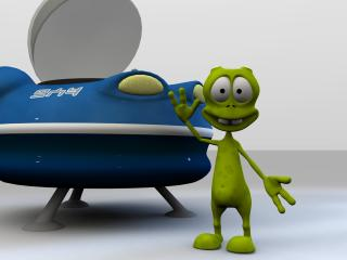 alien, spaceship, 3d wallpaper