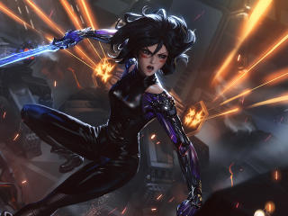 Alita Battle Angel With Sword wallpaper