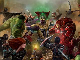 All The Avengers Fighting Thanos - Avengers Infinity War Artwork wallpaper