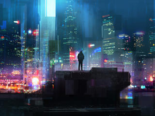 Alone Cyberpunk Boy in City wallpaper