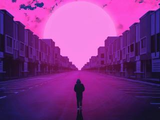 Alone Walking On Road Vaporwave wallpaper