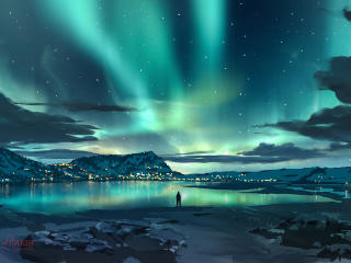 Alone Watching Aurora Borealis wallpaper