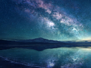 Amazing Milky Way at Lakside wallpaper