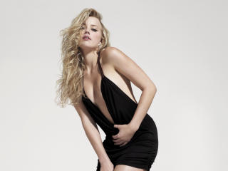 Amber Heard Hot Black Dress wallpaper