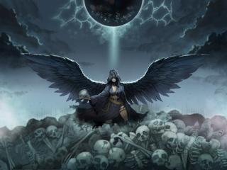 Angel and Skulls wallpaper