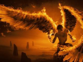 angel, wings, fire wallpaper