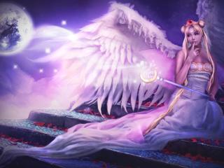 angel, wings, sitting wallpaper