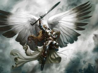 angel, wings, sword wallpaper