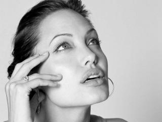 Angelina Jolie black and White Close up wallpapers wallpaper