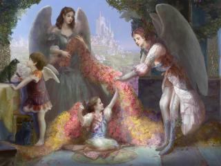 angels, family, home wallpaper