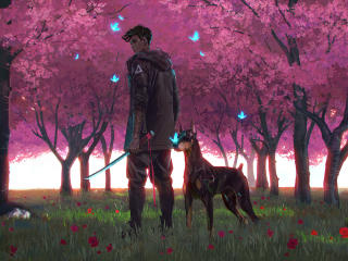 Anime Boy and Dog wallpaper