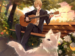 Anime Boy Playing Guitar wallpaper