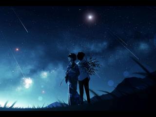 Anime Cool Girl Boy Starry Night Art wallpaper