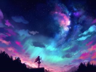 Anime Girl And Colorful Sky wallpaper