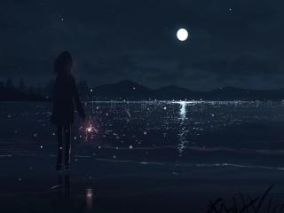 Anime Girl At Night wallpaper