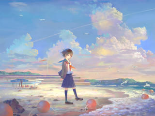 Anime Girl at the Seaside wallpaper