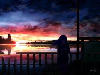 Anime Girl In Sunset wallpaper