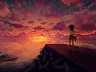 Anime Girl Looking at Sky wallpaper