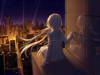 Anime Girl Looking at Stars wallpaper