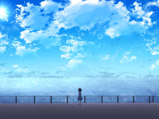 Anime Girl Near Ocean wallpaper
