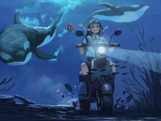Anime Girl Riding Bike Under Water wallpaper
