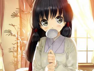 anime, girl, spoon wallpaper