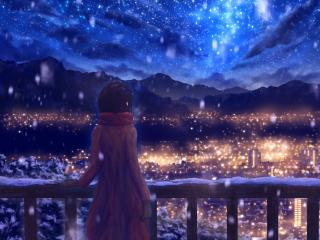 Anime Girl Standing Alone in Snow wallpaper