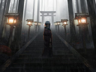 Anime Girl Standing in Rain inside Torii 5K wallpaper