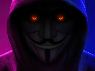 Anonymous with Orange Eyes wallpaper