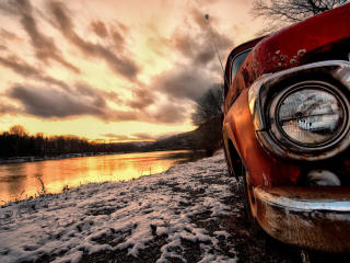 Antique Car In Sun Set wallpaper