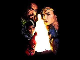 Aquaman, Batman, Cyborg And Wonder Woment Art wallpaper