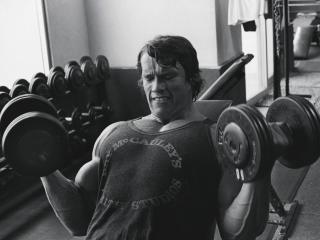 Arnold Schwarzenegger In Gym Photos wallpaper