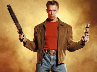 Arnold Schwarzenegger With Gun Pics wallpaper