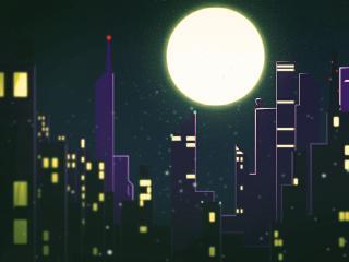 Artistic Cityscape Falling Night wallpaper