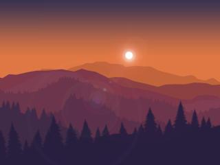 Artistic Orange Landscape wallpaper