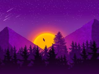 Artistic Purple HD Mountain wallpaper