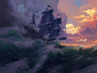 Artistic Sailing Ship in Ocean wallpaper