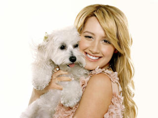 Ashley Tisdale With Dog Pics wallpaper