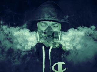 Assassin with Gas Mask 4K Dark wallpaper