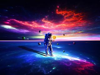 Astronaut Exploring Space wallpaper