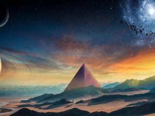 Astronaut Galaxy Pyramid wallpaper
