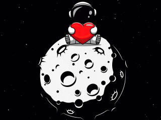 Astronaut with Heart over Moon wallpaper